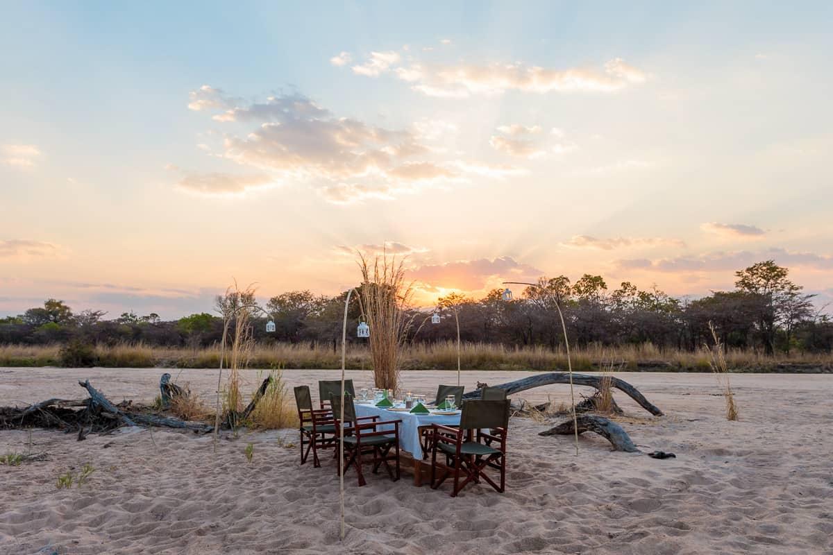 Riverbed dinner, Gavin Opie safaris